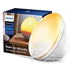 Philips SmartSleep Wake-up Light, Colored Sunrise and Sunset Simulation, 5 Natural Sounds, FM Radio & Reading Lamp, Tap Snooze, HF3520/60