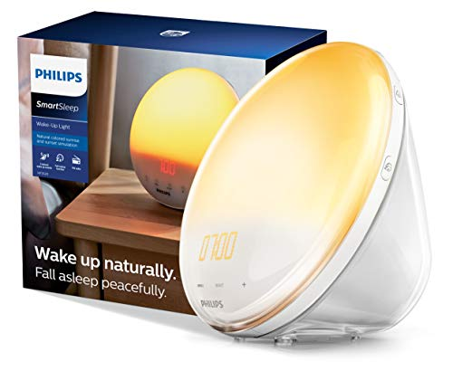 Philips Wake-Up Light Alarm Clock with Colored Sunrise Simulation and Sunset Fading Night Light, White (HF3520