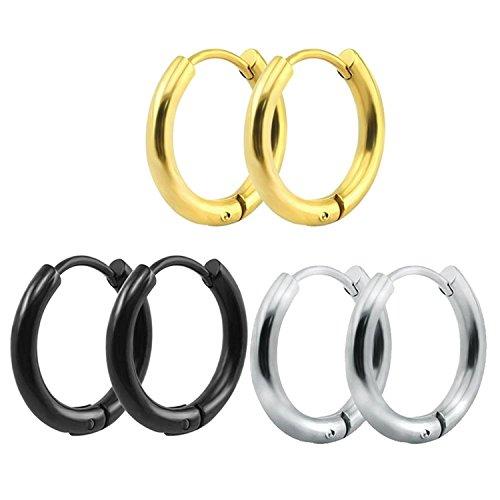 316L Surgical Stainless Steel Hoop Earrings Mens Womens Small Huggie Hoop Earrings(3 Pairs)-10MM