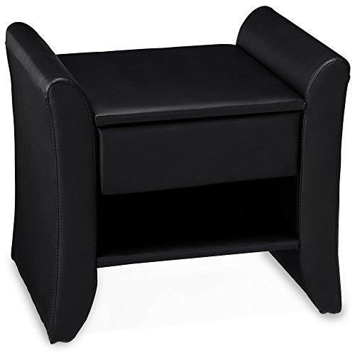 Corium Mesilla de Noche tapizada (Negra) (47cm x 37cm x 44cm) Mesita de Noche con cajón y Compartimento/tapizada de Cuero sintético/Mesa Auxiliar Mesa Dormitorio