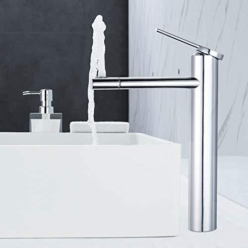 Dalmo 360° drehbar hoch Waschtischarmatur, wasserfall Wasserhahn Badezimmer Waschbecken mit Geräuscharmem Keramischem Ventilkern, Heißes und Kaltes Wasser Vorhanden, Verchromt Messing, Wasserhahn Bad