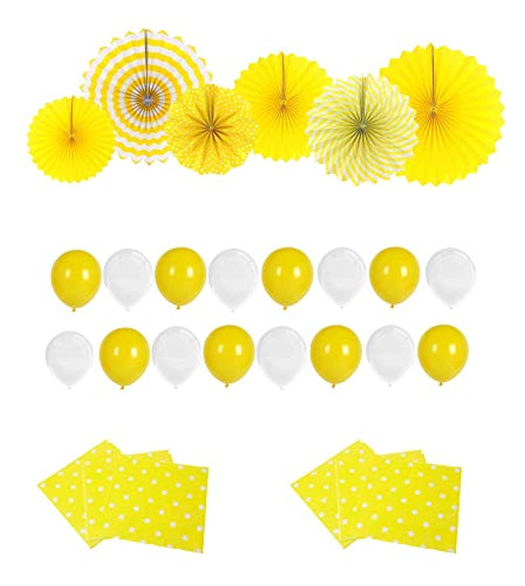 Sunshine Yellow Paper Fans Baby Shower Decoration - 6 Party Hanging Fans & 20 White and Yellow Balloons & 20 Count Yellow Polka Dot Paper Napkins for Wedding, Bridal Shower, Kids Birthday Party