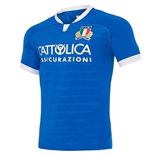 RENDONG Herren Rugby Trikot, 2020-2021 WM Italien Heimfans Training Trikot Kurzarm Casual Sports T-Shirt Fußballbekleidung,Blau,2XL