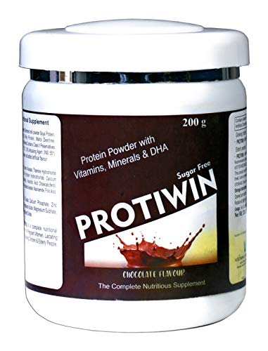 Sugar Free Protein Powder with Soya protien and whay protien Vitamins Minerals and DHA daily nutrition supplement for Family - Chocolate - Net Wt.- 200g