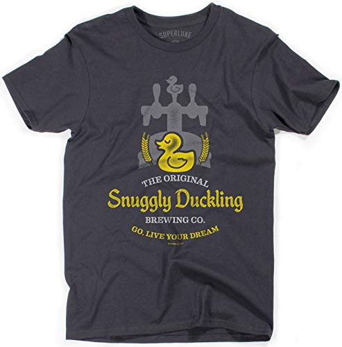 Superluxe Clothing Snuggly Duckling Brewing Company Mens/Womens/Unisex Funny Ruffians Bar T-Shirt, Dark Grey, Large Michigan