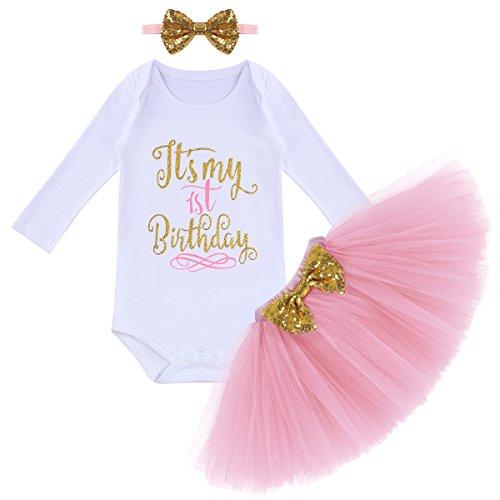 FYMNSI Baby Mädchen Es ist Mein 1. Geburtstag Outfit Kleinkinder erstes Geburtstagskleid Pinzessin Tütü Tüll Rock Langarm Strampler Body Pailletten Stirnband 3tlg Bekleidungsset Fotoshooting Kostüm