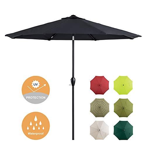 Tempera 9 Ft Patio Umbrella Outdoor Garden Table Umbrella with Push Button Tilt and Crank, 8 Steel Ribs, SpaceGrey