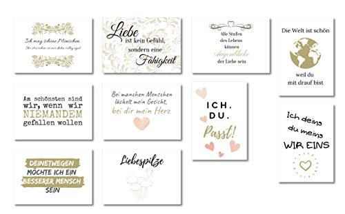 10 Postkarten Set Liebe | Postkarten Sprüche für Hochzeit und Familie | Postkarten Sprüche in Schwarz Weiß und Gold von Wildpony.shop Kollektion GEFÜHL