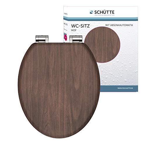 SCHÜTTE - Asiento de inodoro con núcleo de madera MDF, con descenso automático, apto para todos los inodoros habituales, asiento y tapa en imitación de madera