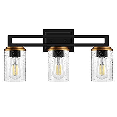 WIHTU Bathroom Vanity Lights, 3-Light Wall Sconce Lighting Fixture with Bubble Glass Shade, Modern Vanity Light Brass Accent and Matte Black Wall Light Lamp for Bathroom Mirror Cabinet Makeup Room