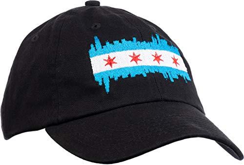 Chicago City Flag Skyline   Chi Pride Baseball Hat Men Women 312 Dad Black Cap