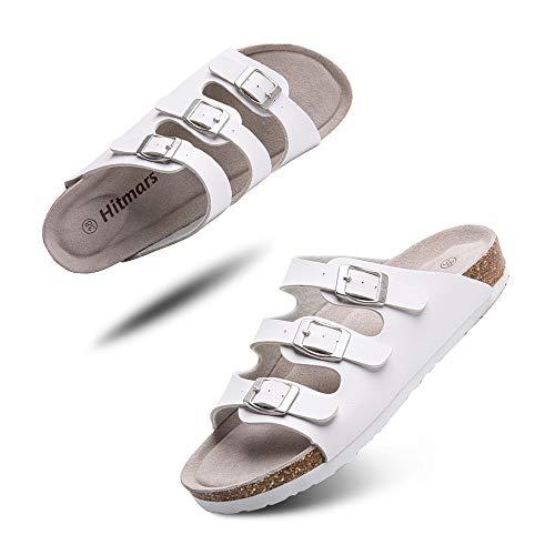 Sandalias Mujer Hombre Planas Zapatillas Verano Chanclas con Hebilla Mules Zapatos Soporte del Arco Comodas Blanco Talla 39 EU
