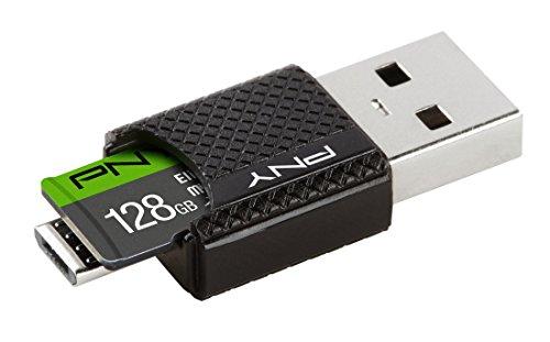 PNY Elite - Tarjeta microSDCH, 128 GB con Lector OTG, 128GB / with OTG Reader