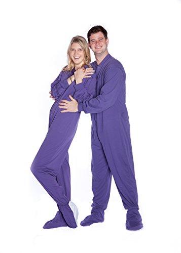 BIG FEET PAJAMA CO. Violett Baumwolle gestrickt Erwachsene Onesie Fuß Pyjamas mit Butt Flap hinteren Klappe für Männer & Frauen