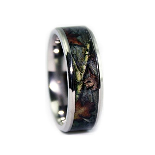 #1 Camo Bevel Titanium Rings - Camouflage Wedding Engagement Band - Ring Size 10