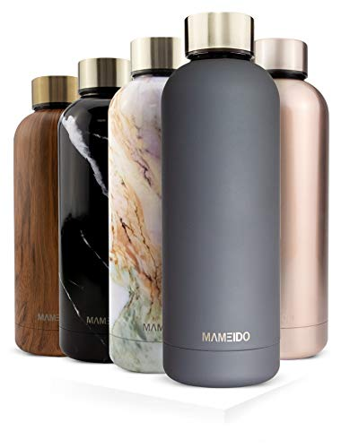 MAMEIDO Trinkflasche Edelstahl - Rauch Grau Gold - 750ml, 0,75l Thermosflasche - auslaufsicher, BPA frei - schlanke isolierte Wasserflasche, leichte doppelwandige Isolierflasche