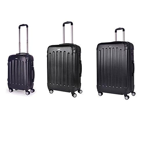 Sunydeal - Set di Valigie 52cm / 62cm / 71cm - ABS ultra leggero - 4 Ruote - Nero - Garanzia 1 anni