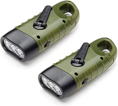 MECO 2 Pack Hand Crank & Solar Flashlight, Rechargeable Emergency LED Torch Carabiner Dynamo with Quick Snap Clip for Camping Outdoor Climbing Hiking, Army Green