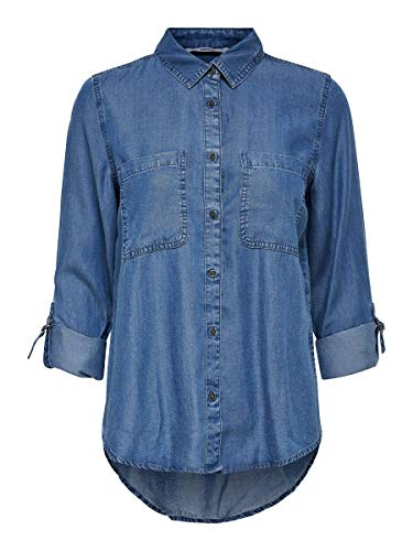 ONLY Damen Onldiamond L/S Structure KNT Bluse, Blau (Dark Blue Denim Dark Blue Denim), (Herstellergröße: 40)