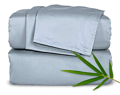 Pure Bamboo Sheets King Size Bed Sheets 4 Piece Set, 100% Organic Bamboo, Luxuriously Soft & Cooling, Double Stitching, 16' Deep Pockets, 1 Fitted, 1...