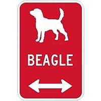 BEAGLE マグネットサイン レッド:ビーグル(小) シルエットイラスト&矢印 英語標識デザイン Water Resistant&UV Coat U.S.