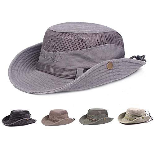 Obling Sonnenhut Herren UV Schutz Atmungsaktiv Quick Dry Fischerhut Hiking Strand Faltbar Safari Buschhüte Hut (Grau)