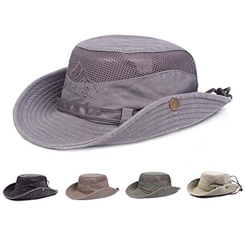 Obling Sun Hat,Fishing Hat UPF 50 Wide Brim Bucket Hat Safari Boonie Hat(Grey)