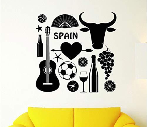 España Símbolo taurino Calcomanías de pared Fútbol con guitarra Etiqueta de la pared para la sala de estar Extraíble Arte Mural de papel de pared 56x56 cm