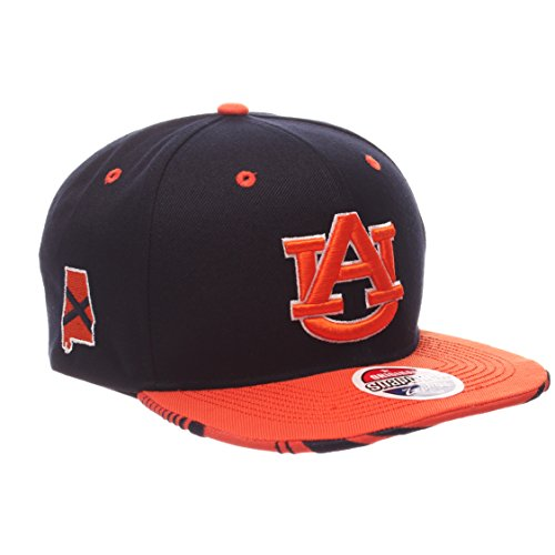 NCAA Zephyr Auburn Tigers Mens Drop Step Snapback Hat, Adjustable, Team Color