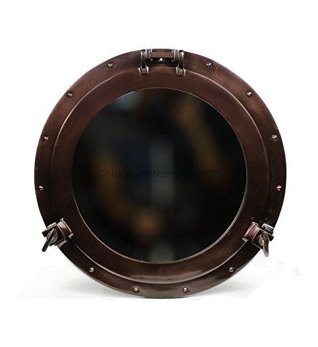 Nagina International Nautical Metal Crafted Coke Kupfer Finish Aluminium Bullauge Spiegel | Antikes Piratengeschenk (11 Zoll)