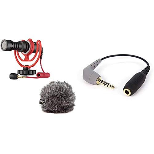 Rode VideoMicro kompakt On Camera Microphone - sortierte Farben & Rode TRS-TRRS Adapter (3,5 mm Buchse auf Stecker) schwarz