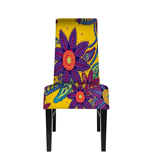 HOSNYE Beautiful Paisley Cucumbers and Flowers Dining Chair Covers Turkish, Indian, Persian on Yellow Background Stretch Spandex Removable Protector Slipcovers for Party Restaurant