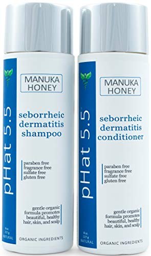 Sulfate Free Shampoo and Conditioner Set for Seborrheic Dermatitis Relief - Severe Dry & Itchy Scalp Treatment with Manuka Honey, Aloe Vera & Coconut Oil - Safe for Color Treated Hair (8 oz)
