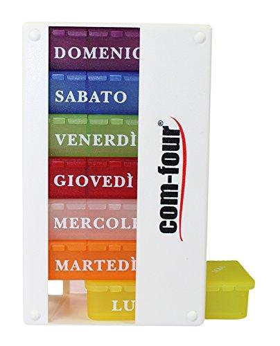 com-four 1x Dispenser per farmaci in Italiano - Scatola per medicinali per 7 Giorni - 3 Scomparti ciascuno - portapillole - Scatola per compresse - Dispenser settimanale [Italiano] (Bianca)
