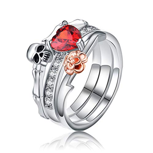 ERLUER Skull Ring Sets For Women Red Heart Crystal Rose Gold Platinum Plated Women's Runk Style Wedding Jewelry Finger Rings (8)