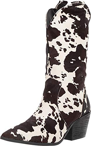 """Dingo Womens Live A Cow Pointed Toe Western Cowboy Boots Mid Calf Mid Heel 2-3"""" - Black - Size 7 B"""