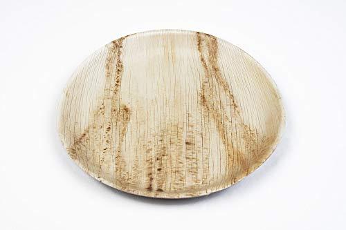Terra restaurata | Piatti a foglia di palma | Piatti rotondi | Festa con ciotole usa e getta | Piatto di carta | Set barbecue | Set picnic (Ø 30 cm rotondo – 25 pezzi)