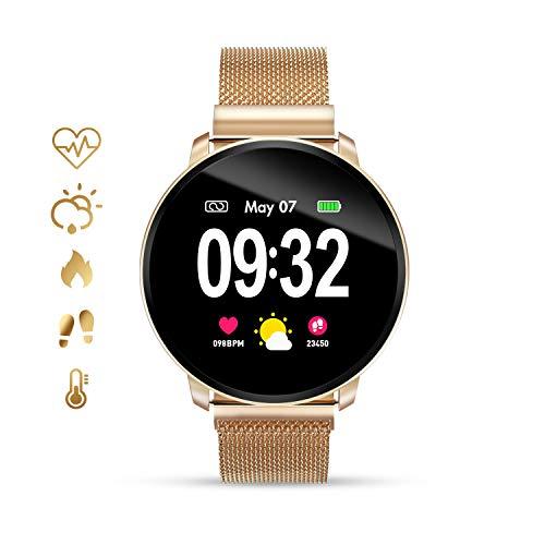 GOKOO Smartwatch Fashion para Hombre Mujer Impermeable Reloj Inteligente Monitores de Actividad Fitness Tracker con Monitor de Sueño Pulsómetros Podómetro Compatible con iOS Android