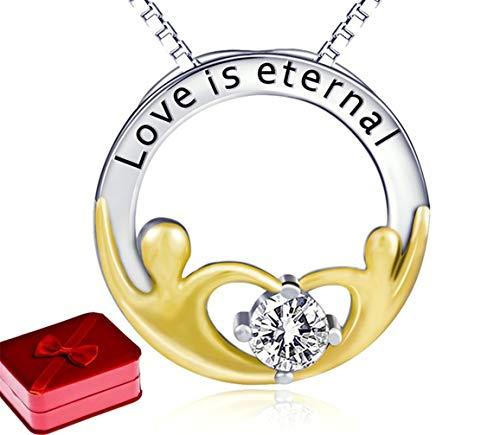 DSGYZQ Ronda 925 Plata esterlina Colgante de Diamantes Madre chapada en Oro Collar joyería para el Regalo del día de la Madre con Cadena y Caja