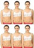 Bodysize Center Fit White Cotton Bra for Women - Pack of 6