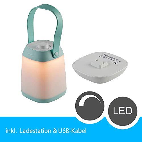 LED Tischleuchte dimmbar Akku mit Ladestation, warmweiß, Mint | Campinglampe LED Leuchte Akku Zeltlampe Kabellos | LED Campingleuchte Akku tragbar 2700K | Campinglampe akku Nachttischlampe dimmbar…