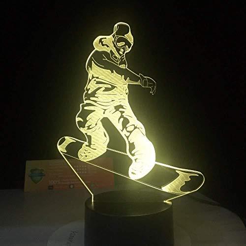 Snowboarden Modelling 3D Visuele Nachtlampje Led 7 Kleur veranderen Touch Knop Tafellamp Slaapkamer Slaapkamer Verlichting Home Decor Gift3D Visuele Ledchildren S Kamer