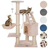 Happypet® Kratzbaum für Katzen mittelgroß CAT017 120 cm hoch, Kletterbaum Katzenbaum, extra Dicke und stabile Säulen mit Sisal ca. 9 cm, Liegemulde, Haus, Treppe,...