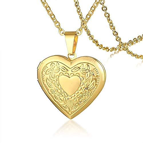 NC163 Colgante de medallón de corazón de Amor de Color Dorado para Hombres, Marco de Fotos Que se Puede Abrir, Collar de Imagen de Mascota Familiar Brillante, Regalo de joyería