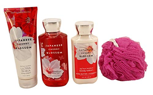 Japanese Cherry Blossom Set - Shower Gel, Lotion, Body Cream with Loofah