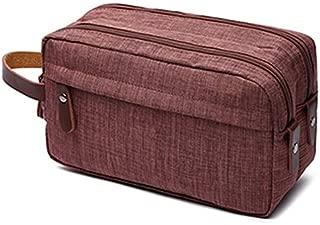 SODIAL Brown Makeup case Travel Canvas Cosmetic Makeup Organizer Women Toiletry Bag Beautician Beauty Case Men Makeup Bag