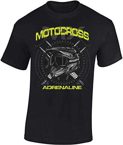 Camiseta: MX Motocross Adrenaline/Motero - Biker/Motocross/T-Shirt Unisex/Dirtbike/Tuning/Ralley/Enduro/Regalo para Motero (L)