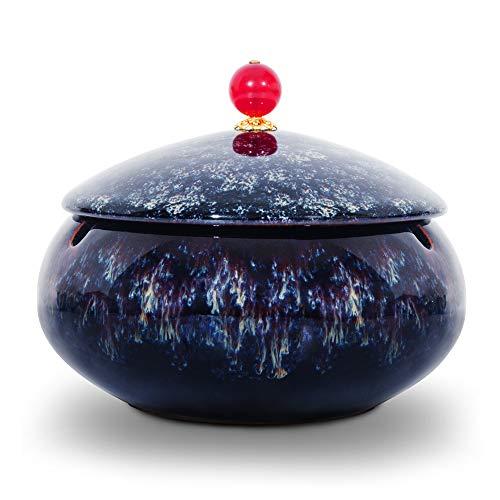 ONEDERZ Aschenbecher für Draußen mit Deckel, Keramik Windaschenbecher Geruchsdicht Sturmaschenbecher für Home Office Dekoration (Grau)