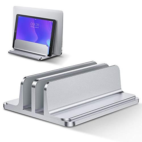 Bewahly Soporte Portátil Vertical Dual, Vertical Soporte para Ordenador Portatil de Aluminio con Base Ajustable para Macbook Pro Air, HP, DELL, Surface, Lenovo y Otros Portatiles, Laptop Stand (Plata)