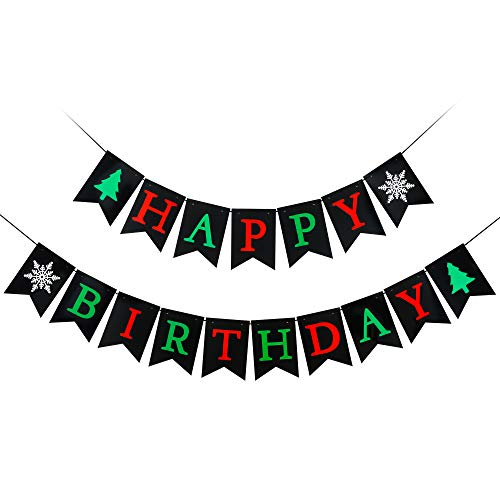 Red & Green Happy Birthday Banner for Christmas Party Decorations, Xmas Mantel Fireplace Home Indoor Outdoor Birthday Party Decorations Supplies